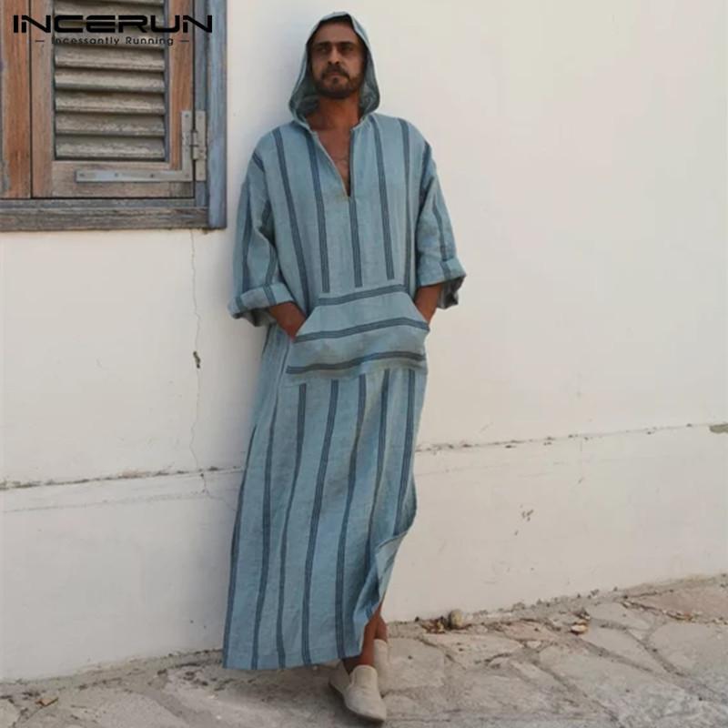 Incerun Men\'S T Shirts Casual Stripe V Neck Hooded Front Pockets ...