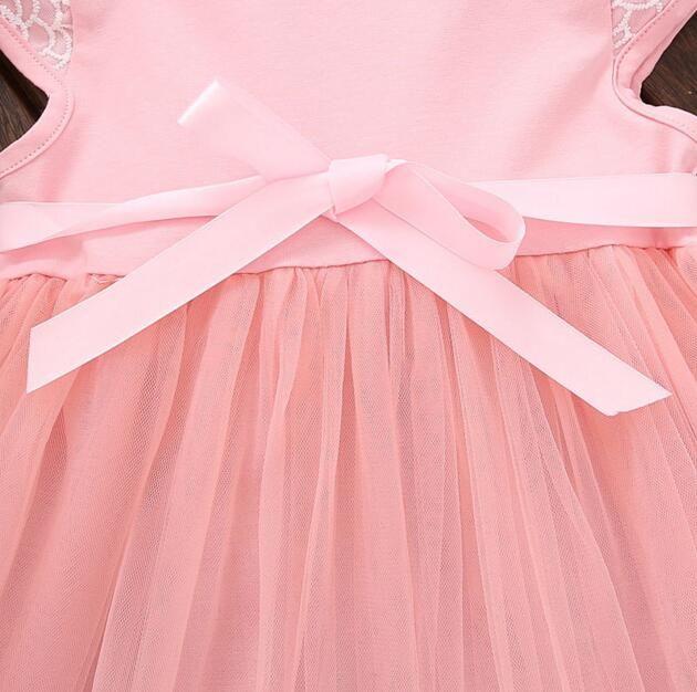 Abiti bambini 2018 Estate Nuove neonate Vestiti Pizzo Papillon Mini A-Line Baby Princess Dress Cute Cotton Kids Clothing