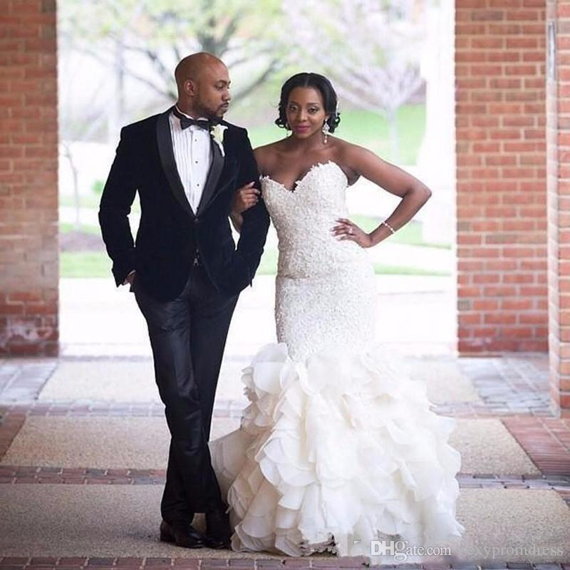 African Style Sweetheart Wedding Dresses 2018 2019 Mermaid Lace Up ...