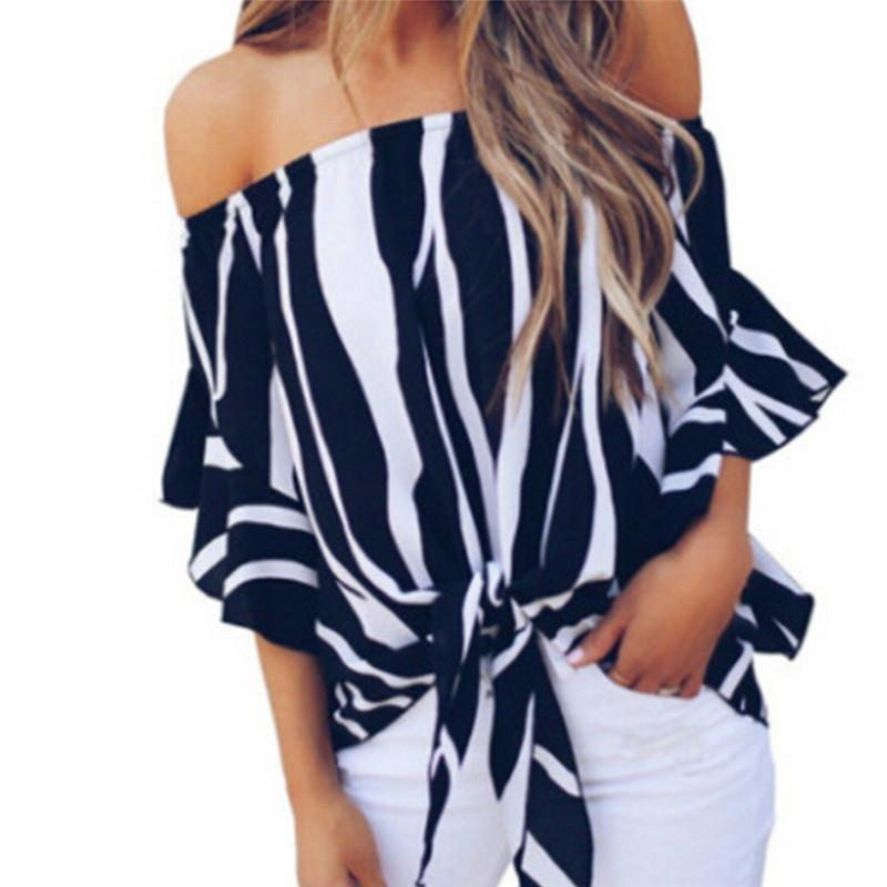 115906e1e50e3a 2019 Striped Off Shoulder Top Summer Womens Tops And Blouses 2018 ...