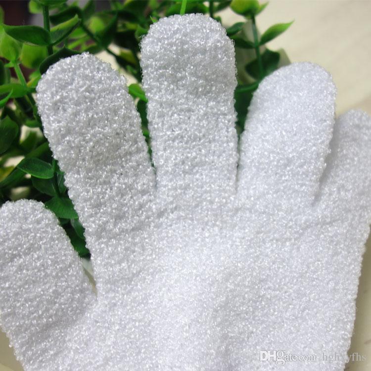 カラーホワイト100%ナイロンバスグローブ5本の指の入り口のグローブ