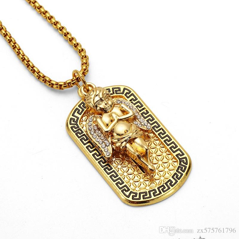 Fashion Men Street Dance Angel Medal Dog Tag Pendant Necklace 18k Gold Plated 75cm Long Chains Rock Micro Hip Hop Jewelry