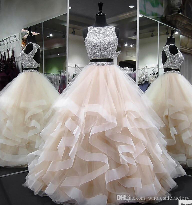eabeec8fdbe9b Two Pieces Tulle Ball Gowns Quinceanera Dresses 2018 Beaded Stones Top  Layered Ruffles Backless Prom Gowns Sweety Girls 16 Years Dresses