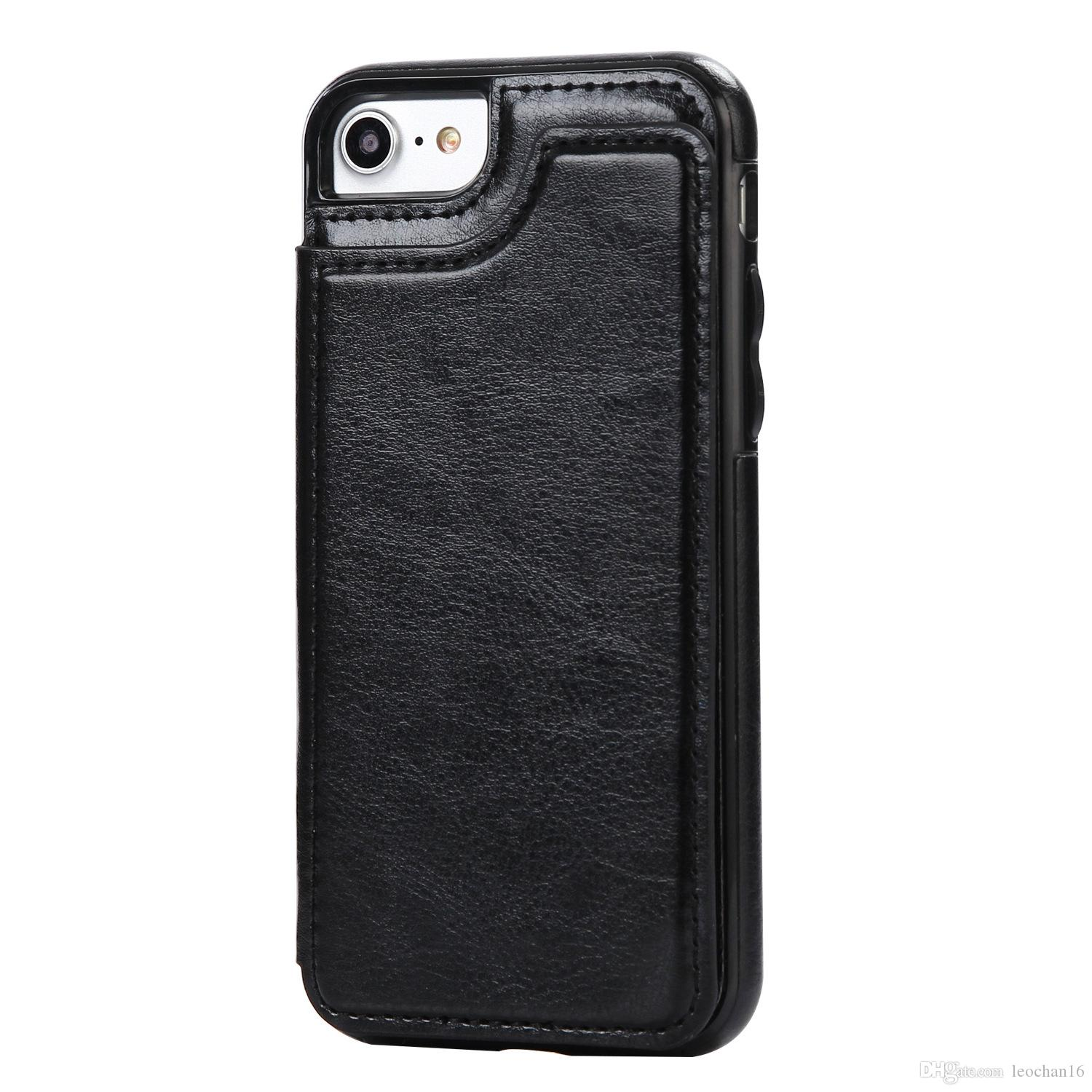 Luxury Flip Leather Wallet Back Cover Holster Case with Kickstand Card Slots Photo Frame Holder Bracket Shell for Apple iPhone Samsung