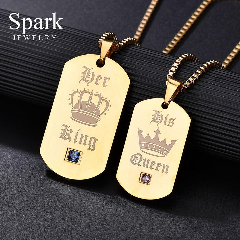 Wholesale Customized Charm Her King Her Queen Pendant Necklace For