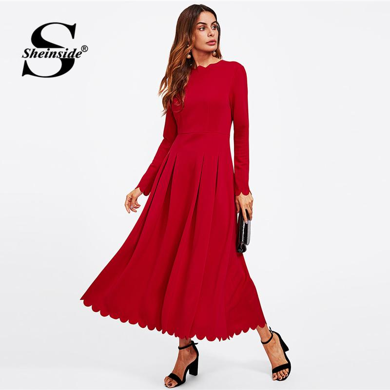 6f7f43d280 X Sheinside Bright Red Long Sleeve Party Dress Office Ladies Round Neck Fit  And Flare High Waist Scallop Edge Women Autumn Dress Women Long Dresses  Dresses ...