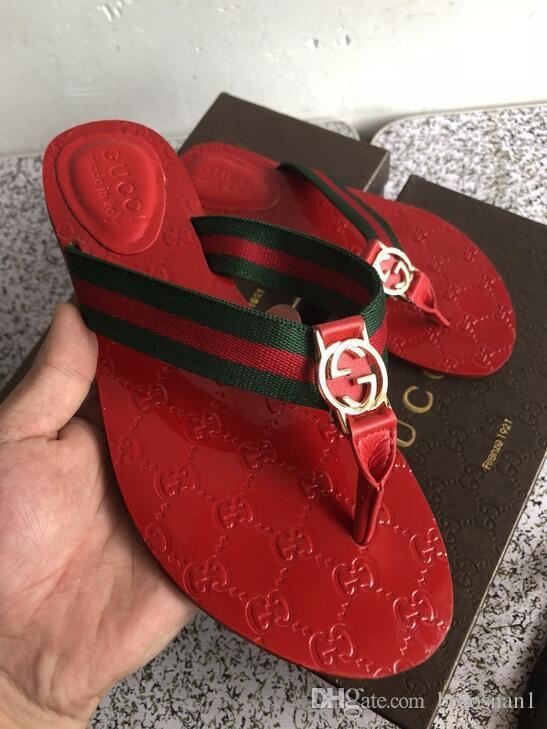 7eeac509a5c 2018 Women Sandals Designer Slides Brand Fashion Striped Sandals Medusa  Scuffs Causal Non-slip Summer Huaraches Slippers Flip Flops Slipper Online  with ...