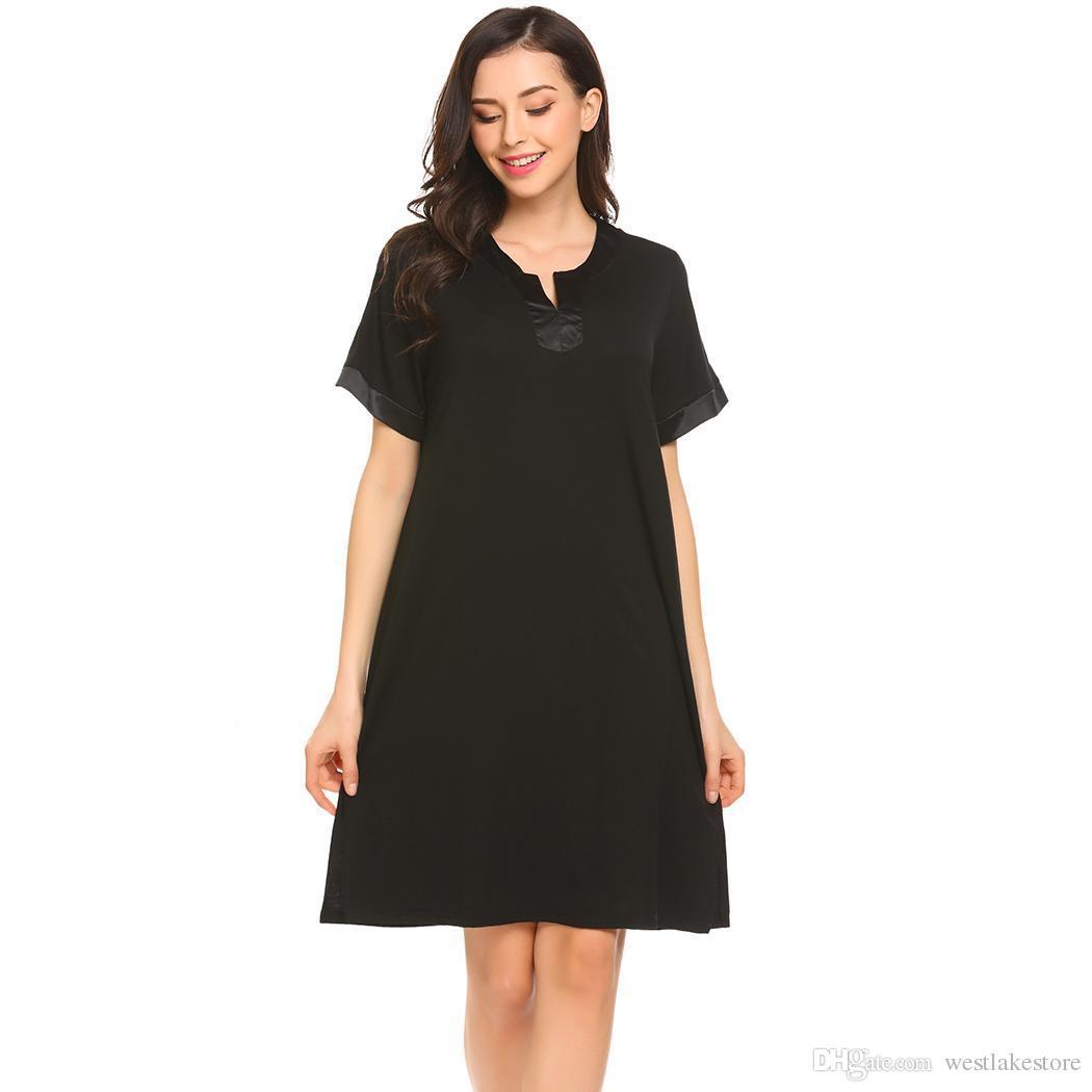 44de8e7015 2018 Women Sleepwear Night Dress Casual V Neck Short Sleeve Patchwork Loose  Sleepshirt Sleepdress Nightgown Homewear Clothes From Westlakestore