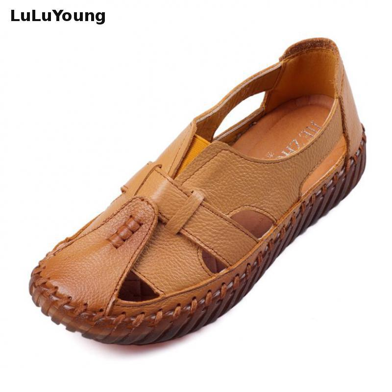 679d9a8d0d0b2a Soft Genuine Leather Shoes Antique Flat Ladies Sandals Gladiator Sandals  Women Summer Shoes Shoes Woman Sandals Woman Shoes Online with  75.17 Pair  on ...