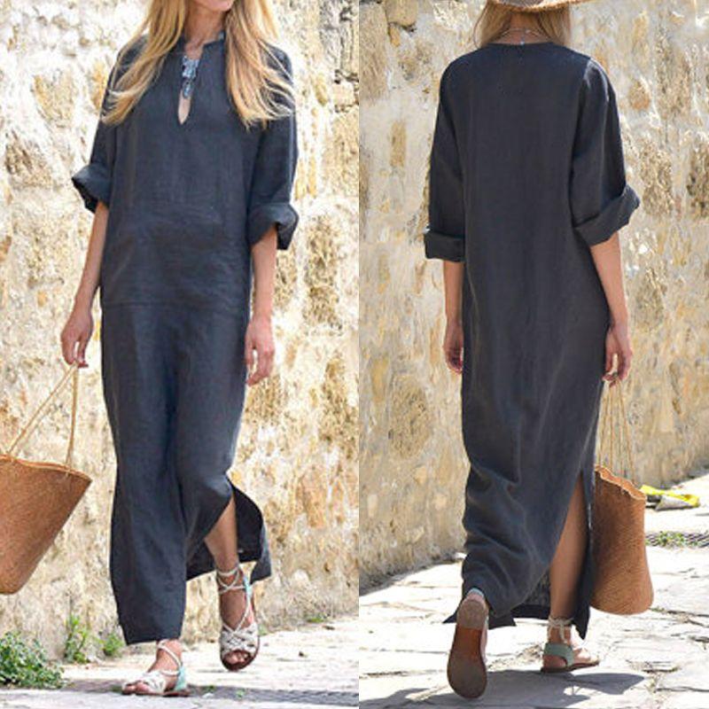 040c68ab0 2019 Celmia Kaftan Women Vintage Long Maxi Dress Sexy V Neck Long Sleeve Side  Split Solid Pockets Linen Dresses Plus Size Vestidos From Deborahao, ...