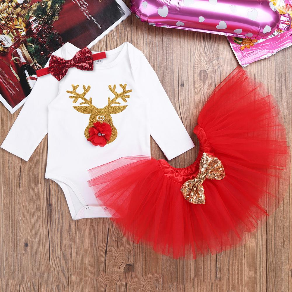 2018 iefiel red infant baby girls my first christmas outfits romper jumpsuit with tutu skirt dress baby girls clothes for party wear from oliveer