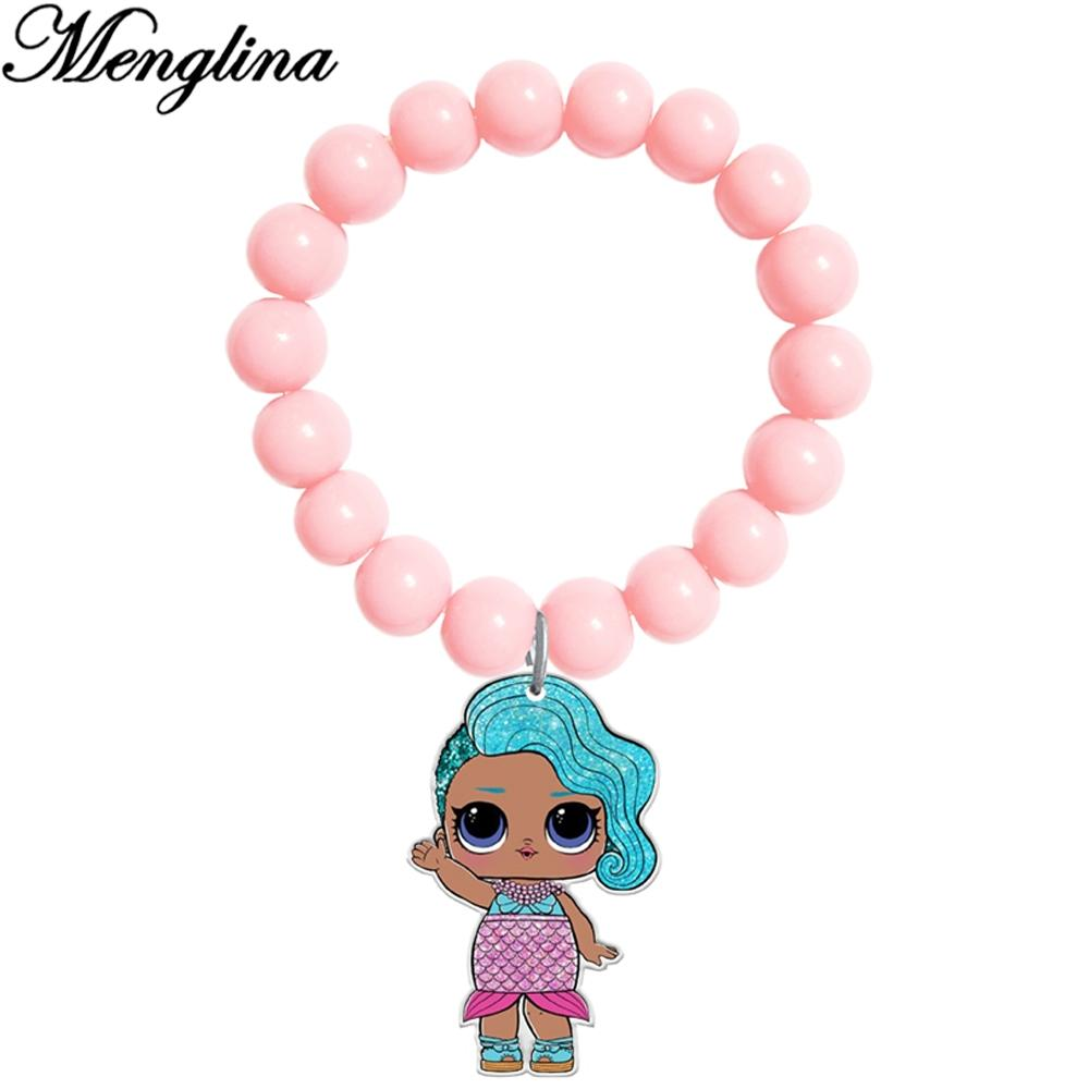 Menglina Cute Cartoon Little Girl Acrylic Charm Bracelets Flatback Resin Charms Light Pink Acrylic Beads Bracelet For Children