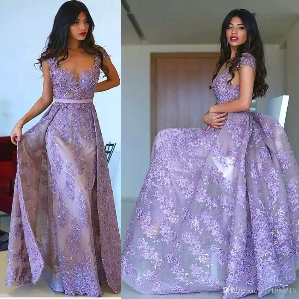 9aee9fda47 Lavender Mermaid Long Prom Dress With Overskirts Glamorous Full Lace  Applique Beaded Tulle Evening Dresses Newest Couture Formal Party Dress  Floral Prom ...