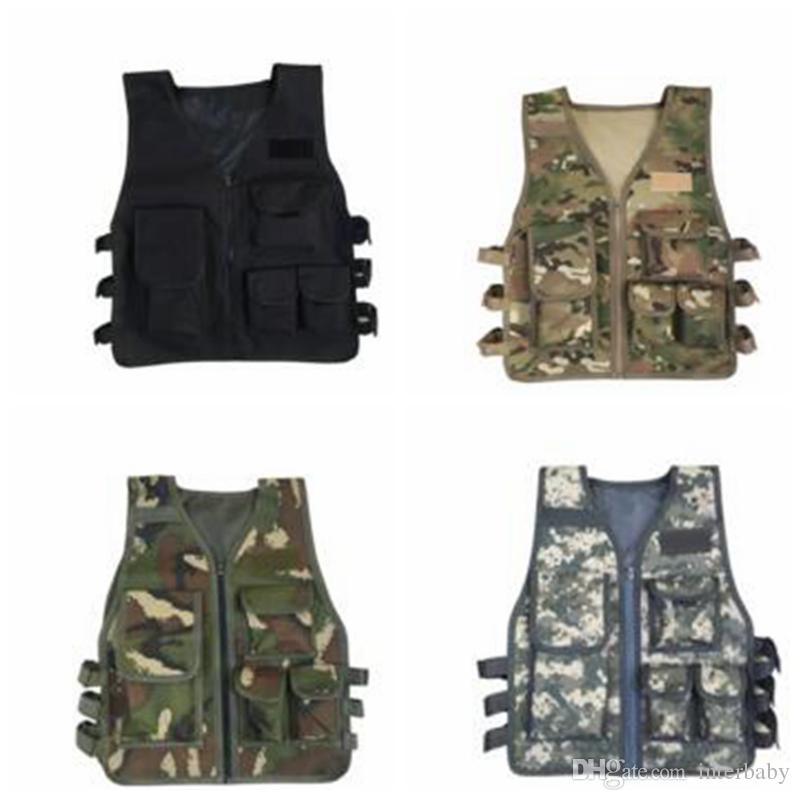 793689add Kids Waistcoat Boys Camo Tactical Vest Baby Outdoor Game CS Vests ...