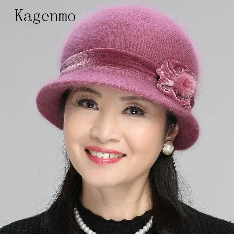 Kagenmo Cap Scarf Twinsets Mother's New Year Gift Thick Knitting Rabbit Fur Warm Sets Fashion Outdoor Keep Warm Women Hat Scarf