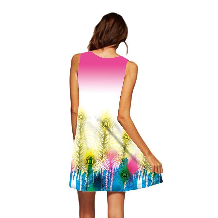 En gros livraison gratuite été Style femmes sans manches Vintage 3D Floral Transfer Print Casual Casual Loose Sexy Une ligne Dashiki Boho Dress