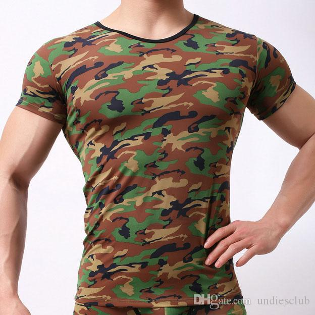 63441c3ac51d New 2018 Elastic Mens T Shirts Breathable Camouflage Tight Slim Fit ...