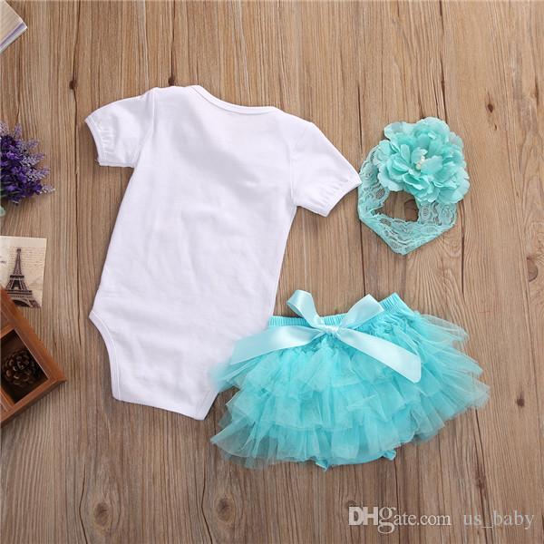 Baby Dreamer Romper 3 unids Sets Toddler Girls White Romper Faldas Bandas Outfit Verano bloomer tutu shorts trajes