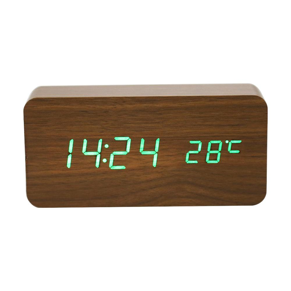 d708041b210 Compre Despertador Digital LED De Madeira Ativado Por Voz Ativado  Eletrônico De Madeira Despertador Temperatura Display Desk Relógios De Mesa  De Merryseason ...