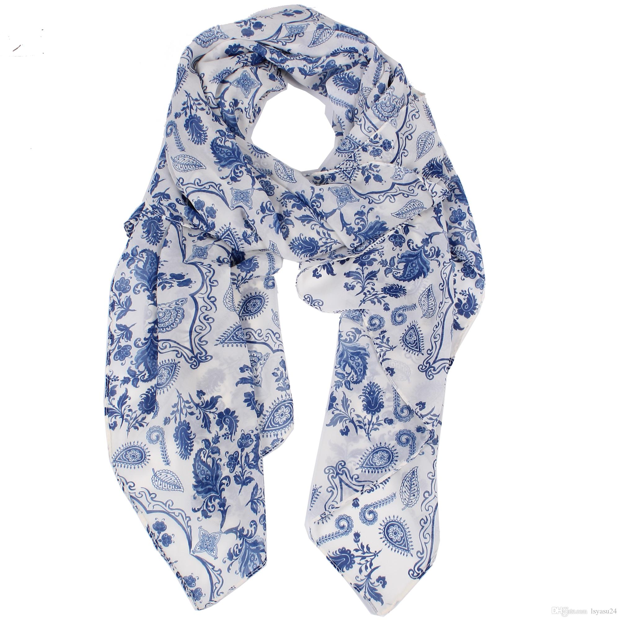 1fa9ec3de0e3d 2019 Lightweight New Fashion Women Scarfs White With Blue Paisley Flowers  Print Chiffon Lady Scarfs 180*70 Cm No.YS1512 Knitted Scarf Scarves  Wholesale From ...