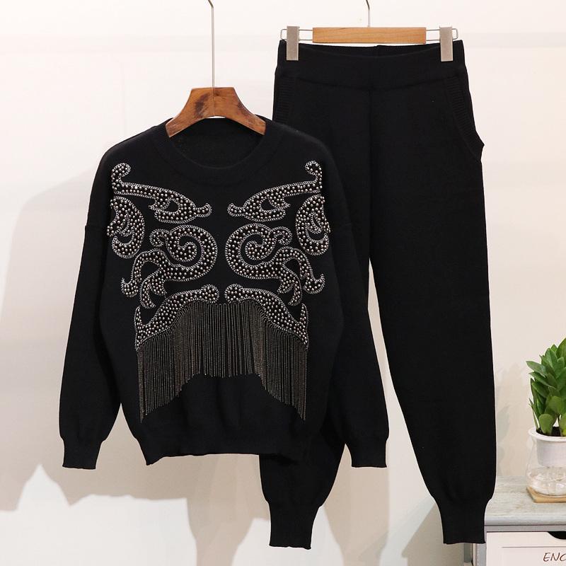 Compre Amolapha Mujer Invierno Borla Suéteres Pantalones Conjunto Perlas  Hechas A Mano De Manga Larga Jersey De Punto Tops Pantalones Trajes  D18110503 A ... 3c44e56ab58a