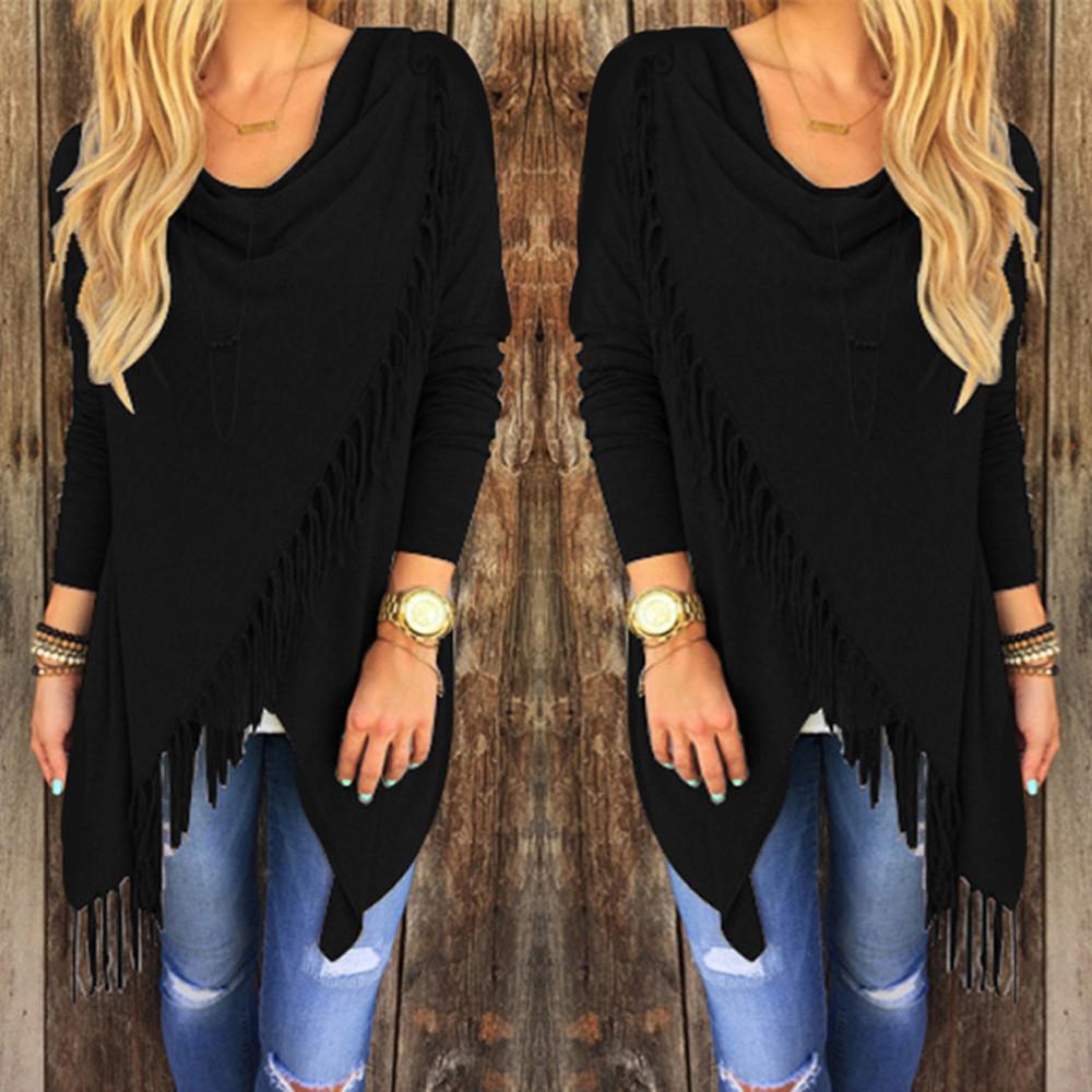 Spring Autumn Cardigans Tops Women Casual Loose Long Sleeve Irregular Hem Tassel Cardigan Cape Poncho Black Gray