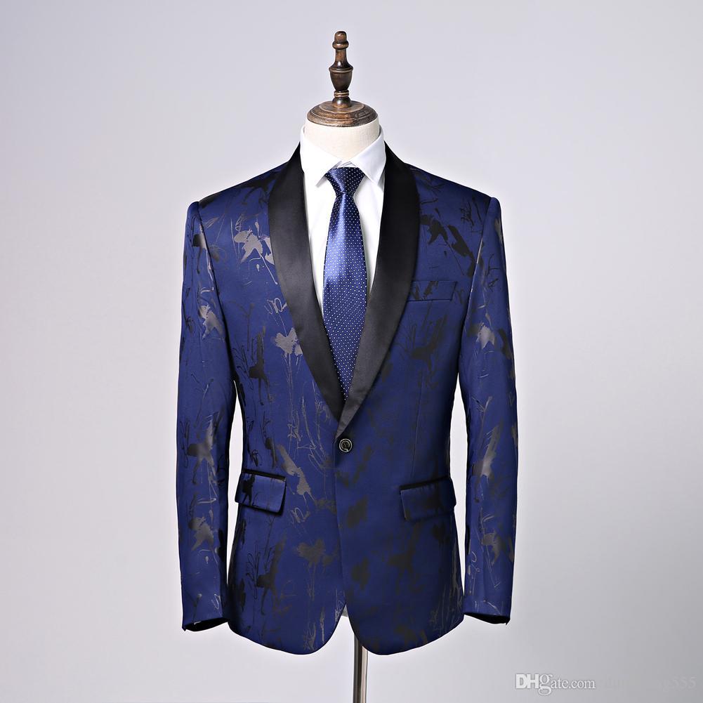 quality design e2cec f7132 Eleganti abiti blu scuro Abiti da uomo Collo sciallato Abiti slim fit Un  bottone 2 pezzi (giacca pantaloni) per smoking da matrimonio