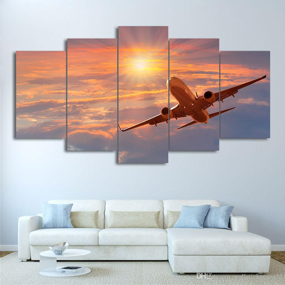 5 Panel Sunset Airplane Canvas HD Printed Painting Wall Art Home Decoration For Living Room Modern Landscape Pictures Painting