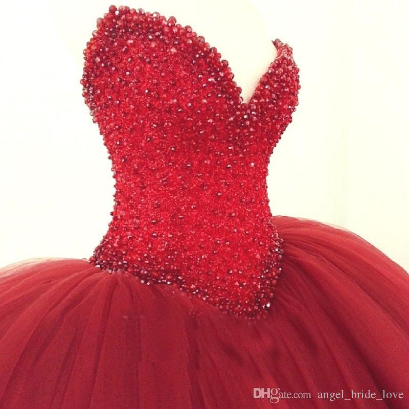 2018 Yeni Sıcak Kırmızı Quinceanera Elbiseler Balo Kristaller İnciler Ruffles Tül Lace Up Geri Pageant Törenlerinde Kız Q46