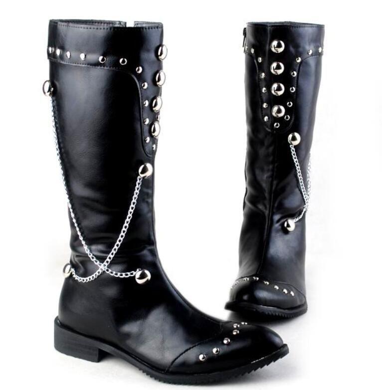 Männer Stiefel Schwarz Runde Kappe Nieten Mode Boot Cowboy Martin Boot Für Männer Lange Metallketten PU Leder Boot