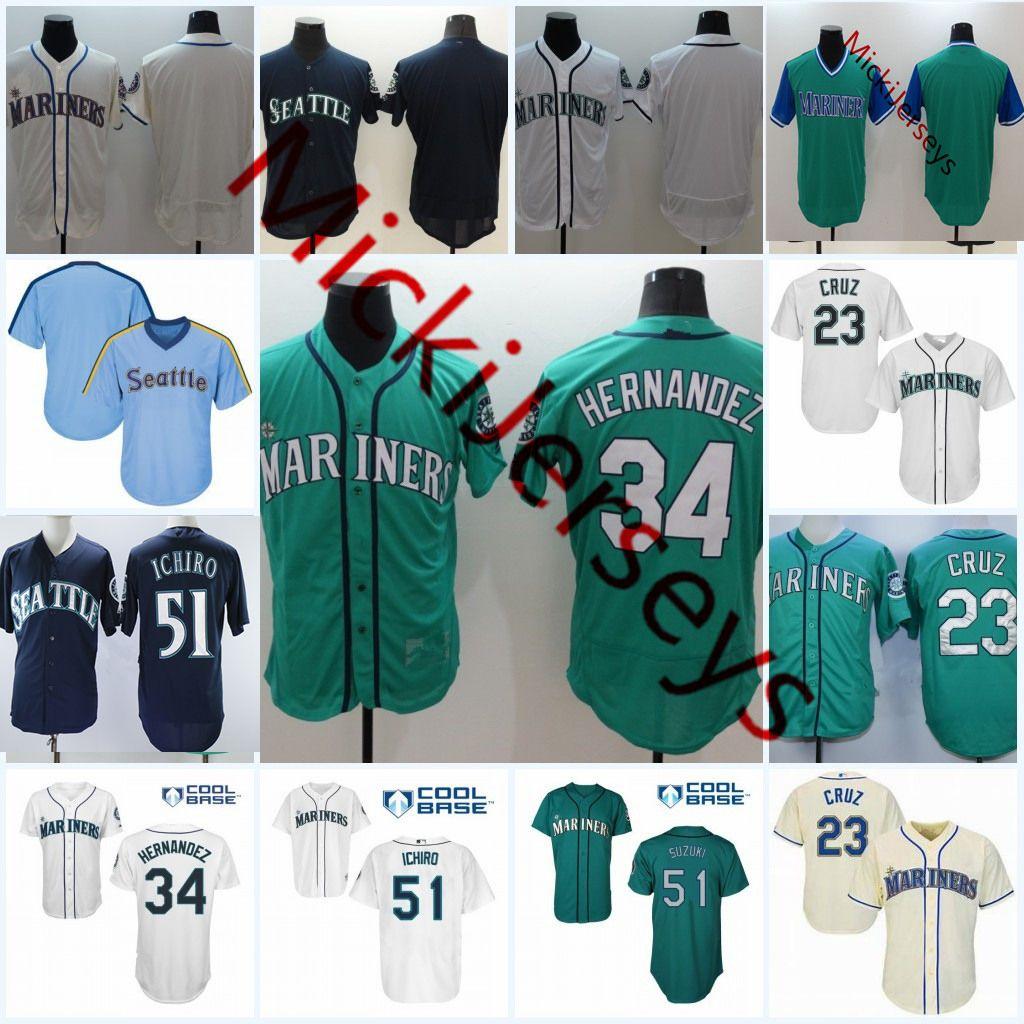 ddf45a5041 Compre Mens   34 Felix Hernandez Flex Base Jersey Costurado Verde Branco  Cinza   23 Nelson Cruz   51 Suzuki Ichiro Base Legal Baseball Jersey S 3XL  De ...