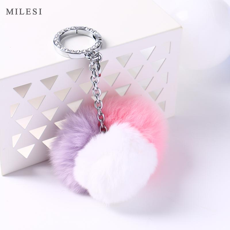 Milesi Real Rabbit Fur Keychain Pompon Keyring For Women Fluffy Soft  Furball Fuzzy Key Chain BZ025 Keyrings Personalised Keyrings From  Rainbowwo 4c3534d492