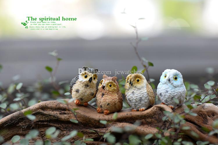 Cute Owls Animal Resin Miniatures Figurine Craft Bonsai Pots Home Fairy Garden Ornament Decoration