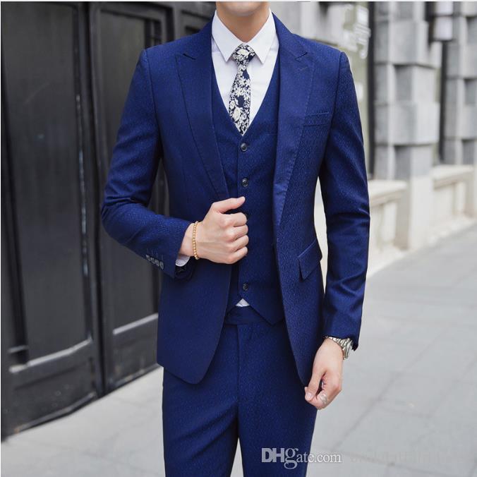 2018 Autumn Menu0027s Fashion Suit Men Suits Brand Clothing High Quality  Wedding Dress Chiffon Suit Formal Prom Suits Mens (Vest+Coat+Pant)