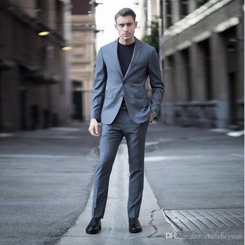 beecfebe9d Grey Men Suits Smart Casual Slim Fit Best Business Suit Wedding Tuxedos  Groom Wear Groomsmen Suit Men Formal Wear (jacket+pant)