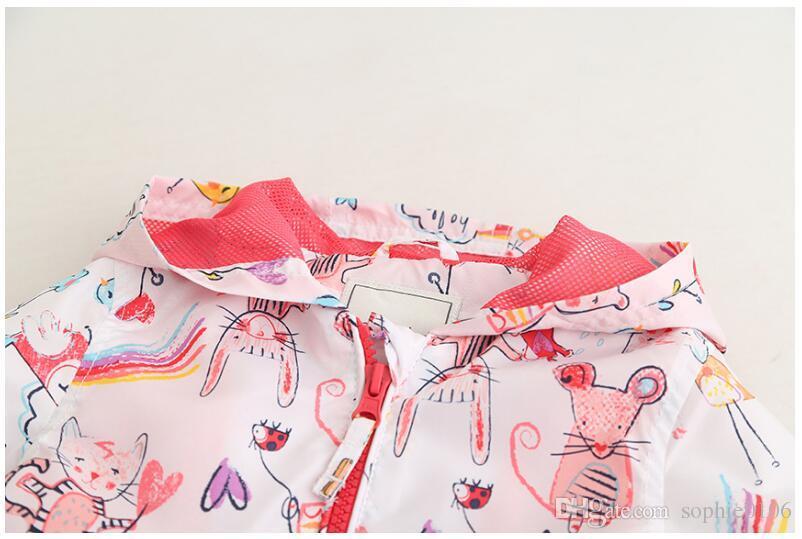 2018 Kız Karikatür Kedi Baskı Hoodies ile Şapka Bebek Bahar Sonbahar Uzun Kollu Zip-up Ceket Çocuk Çocuk Tişörtü Giyim EY 002
