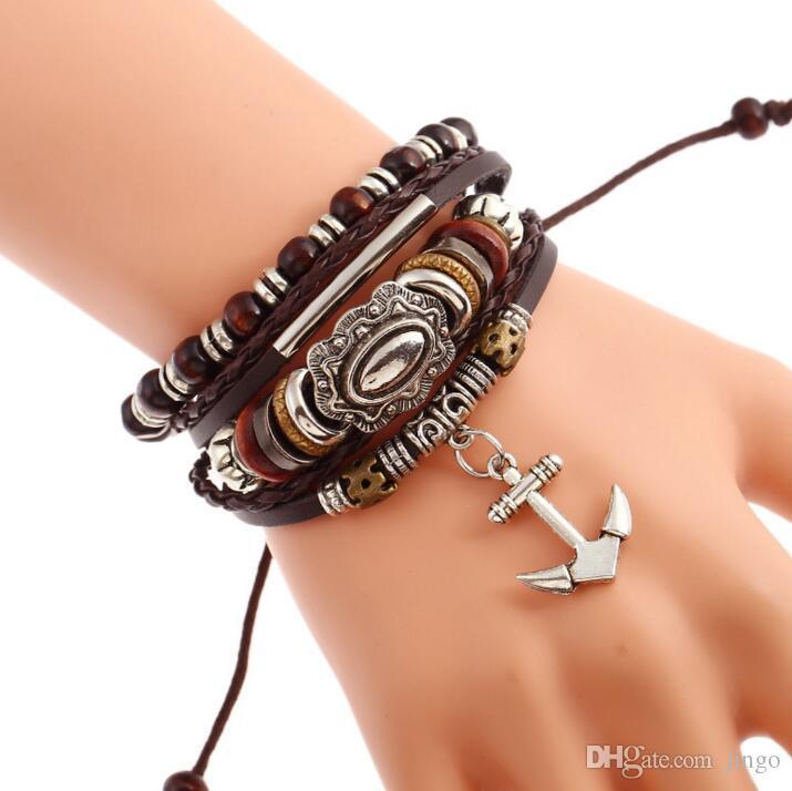 e9674655d4f5 Ancla pulsera colgante pulsera de cuero trenzado con cuentas Diseñador de  la vendimia para hombre Pulsera de la joyería de la aleación del encanto ...