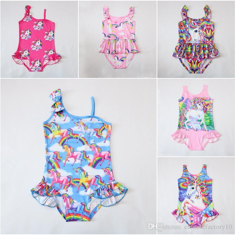 038a1480a1 Girls Unicorn Swimwear One Piece Tiger Swimsuit Bowknot Bikini Big Kids  Summer Cartoon Infant Swim Bathing Suits 4-8T Ins New