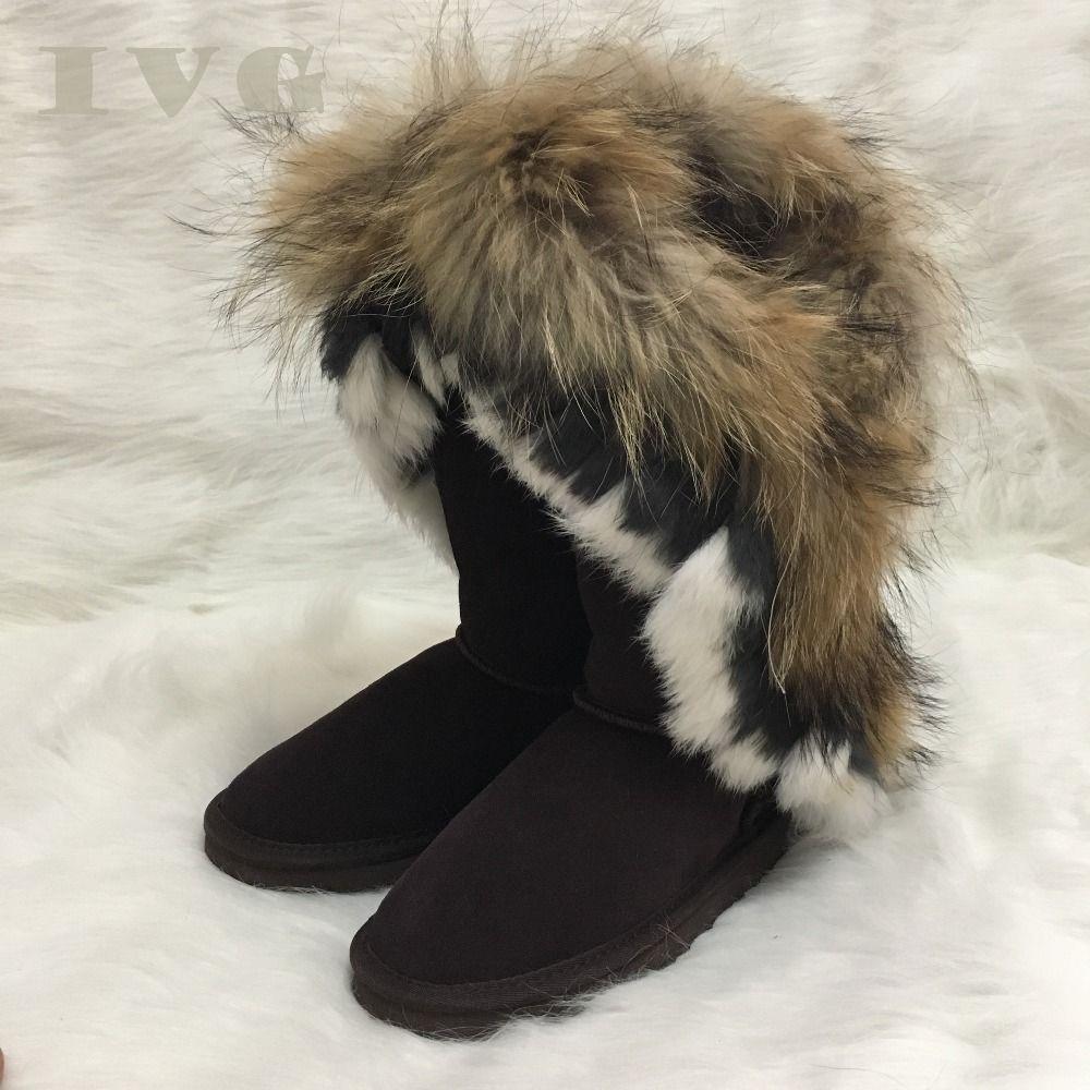 bc1e62d56b 2018 New Australian Boots Women Snow Boots Faux Fur Cow Leather Ivg ...