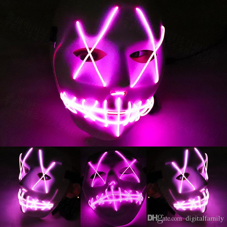 LED Mask maschera di divertente da The Purge elezione anno Grande per Festival Cosplay Halloween Cosplay Glow In Dark