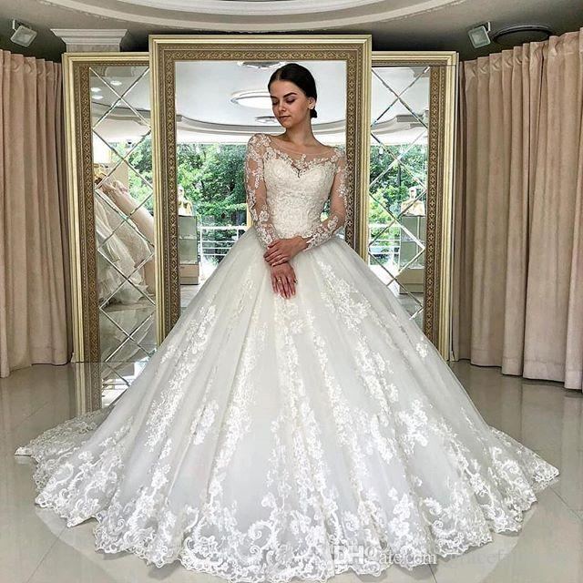 6ba4572216fa7 Princess Ball Gown Wedding Dresses 2019 Sheer Long Sleeve Bride Wedding  Gowns Special Lace Appliques Bridal Gowns brautkleid spitze