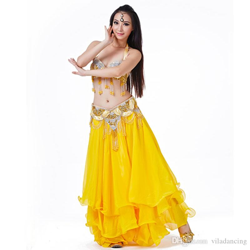 45170b4cd145b 2019 Fashion Heavy Beaded Bra Belt Skirt Belly Dance Costume Dancing Wear  Dance Cloth For Belly Dance From Viladancing