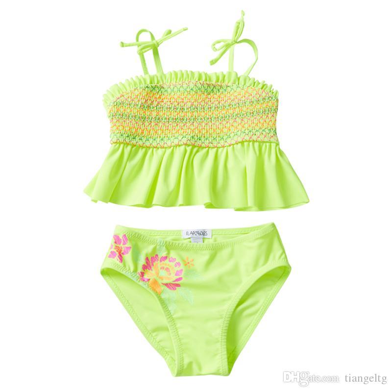 UPF 50+ UV Trajes de baño para bebés Niños Niños Adolescente Swimsuits 12 Traje de baño Bikini Costumi Da Bagno Lentejuelas Piña Piña de Baño