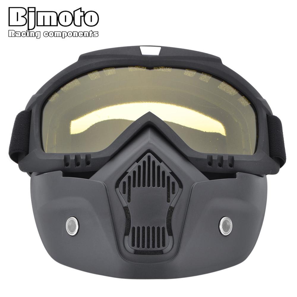 e57dcd88af8f6 Compre Óculos De Proteção Da Motocicleta Com Máscara Facial Capacete Óculos  De Sol Da Bicicleta De Esqui Ciclo De Motocross Óculos De Proteção Modular  ...
