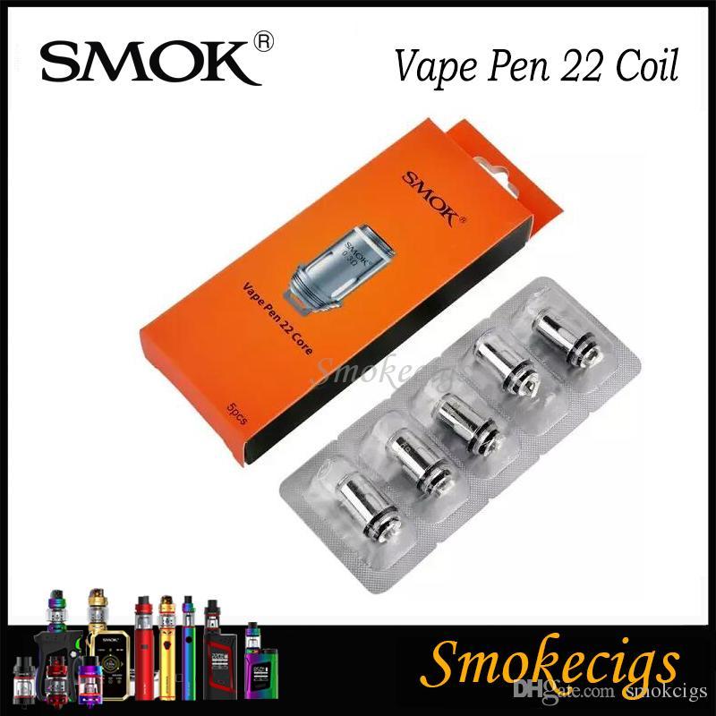 smok vape القلم 22 لفائف 0.3 0.25ohm x4 لفائف استبدال لفائف smok vape القلم 22 عدة vape القلم خزان 100٪ الأصلي بخار المطارد 5 قطع لكل حزمة
