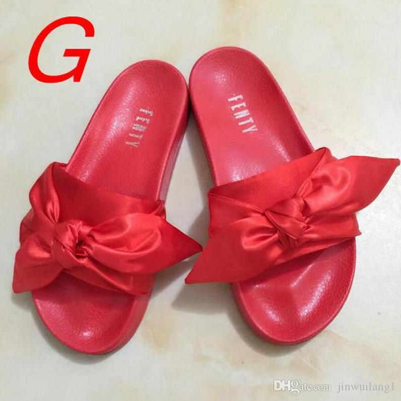 00737e95a22 Women Slippers Fenty Bandana Slide Leadcat Fenty Rihanna Bowtie Slippers  Bow Slides Ladies Slipper White Pink Red Gold Size 36 41 Dress Shoes Wedge  Shoes ...
