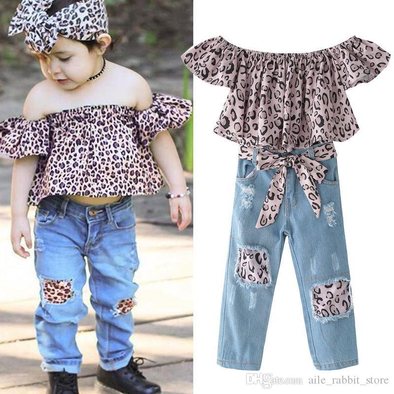 Acquista Ins In Vendita Calda Ragazze Di Abbigliamento Di Moda Set Leopard  Raglan Top Manica + Buco Jeans Imposta Bambini Vestiti Di Tendenza In Cotone  A ... 2a0d5c8c11c