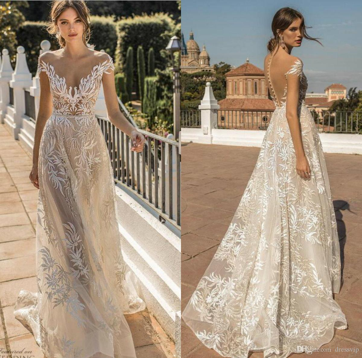 d441277773 Discount 2019 Muse By Berta Wedding Dresses Off The Shoulder A Line Button  Back Illusion Boho Bridal Gowns Custom Made Plus Size Wedding Dress Wedding  ...