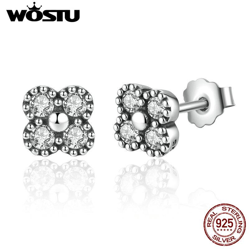 Real 925 Sterling Silver Delicacy Oriental Blossom Stud Earrings For Women Compatible With Original Pan Jewelry Gift