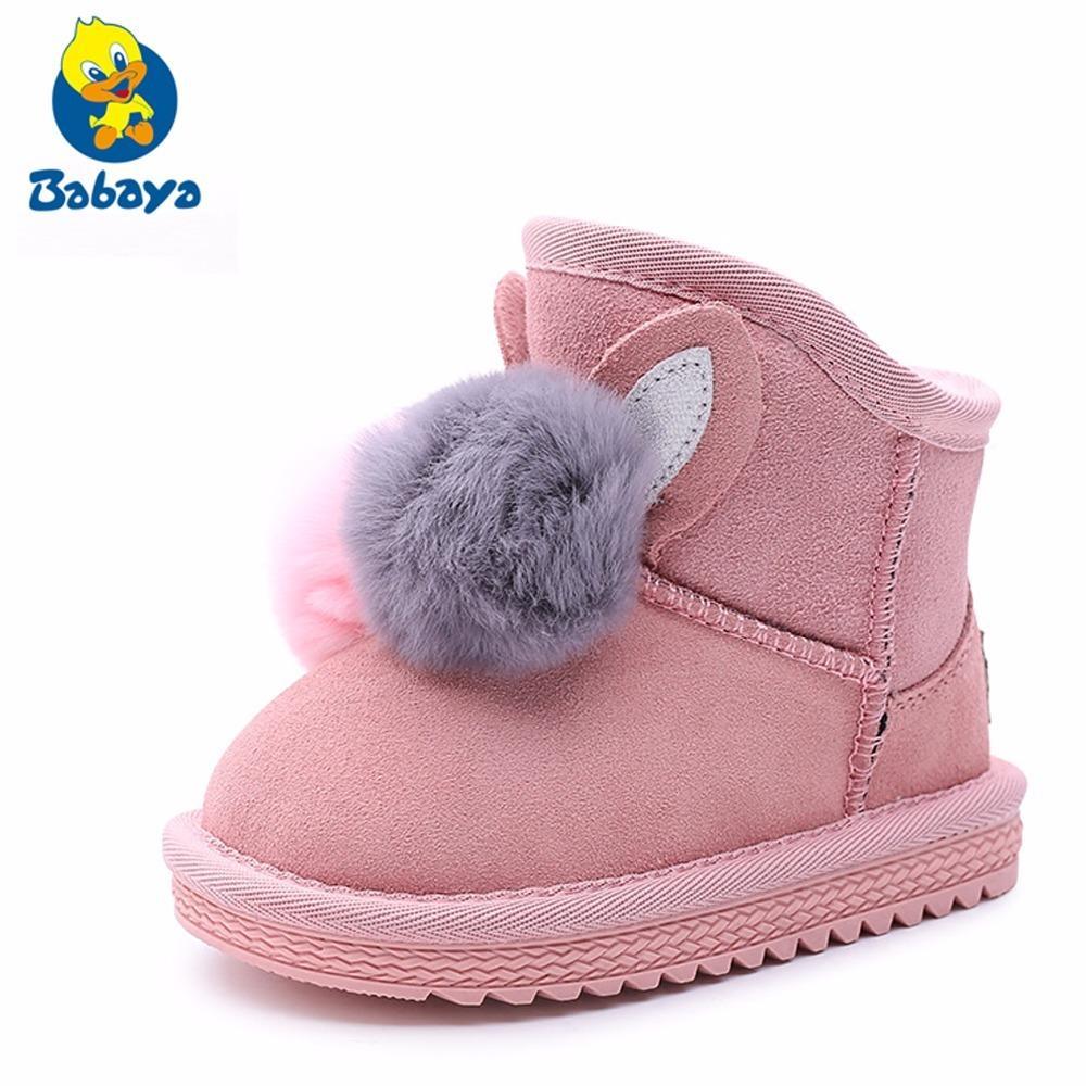ba917bd50 Compre Princess Girls Rabbit Shoes Botas De Nieve Para Niñas Zapatos De  Invierno Con Piel Natural Para Niños Botas De Cuero Genuino Botines Para  Niñas A ...
